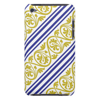 stripes and damask mustard yellow purple iPod touch case