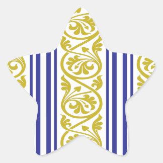 stripes and damask mustard yellow purple star sticker