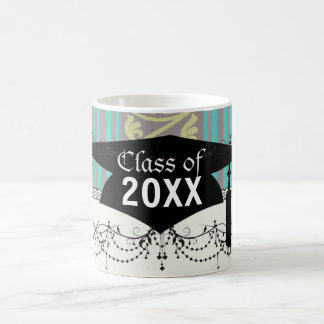 stripes and damask teal brown olive graduation coffee mug