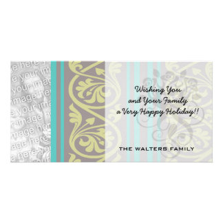 stripes and damask teal brown olive photo card
