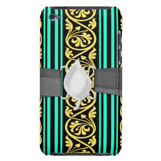 stripes and damask yellow aqua blue barely there iPod case