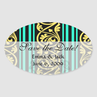 stripes and damask yellow aqua blue oval sticker