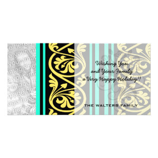 stripes and damask yellow aqua blue personalised photo card