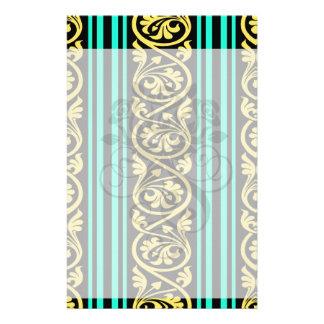 stripes and damask yellow aqua blue stationery design