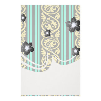 stripes and damask yellow aqua blue stationery paper