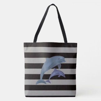 Stripes and Dolphins Tote Bag