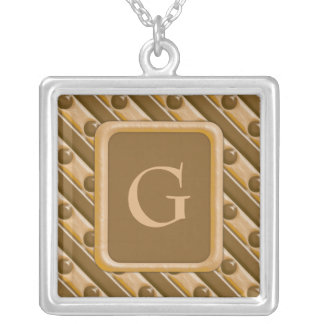 Stripes and Dots - Chocolate Peanut Butter Square Pendant Necklace