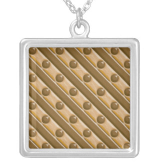 Stripes and Dots - Chocolate Peanut Butter Silver Plated Necklace