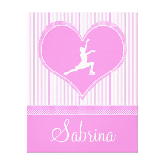 Stripes and Dots Figure Skating Canvas (Large) Canvas Print