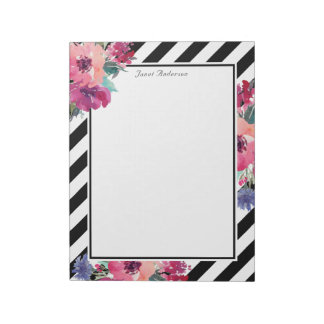 Stripes and Floral Pattern with Your Name Notepad