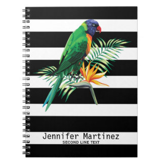 Stripes And Parrot Notebook