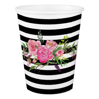 Stripes and Peonies Paper Cups