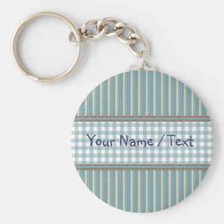 Stripes and plaid design basic round button key ring