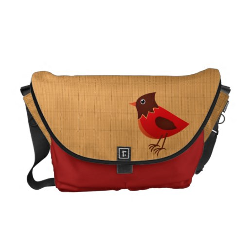 Stripes and Red Bird Courier Bag