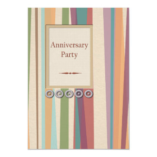 Stripes and Rivets Anniversary Party 13 Cm X 18 Cm Invitation Card