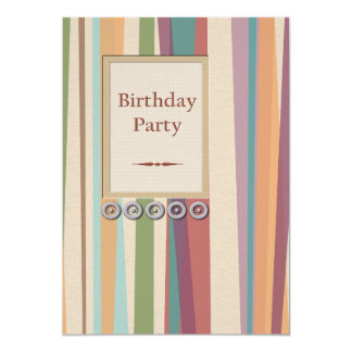 Stripes and Rivets Birthday Party 13 Cm X 18 Cm Invitation Card