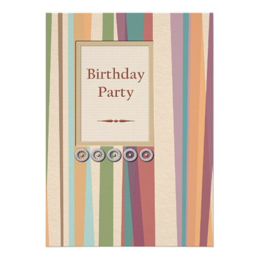 Stripes and Rivets Birthday Party Personalized Invites