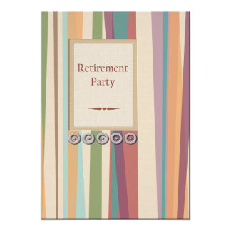 Stripes and Rivets Retirement 13 Cm X 18 Cm Invitation Card