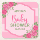 Stripes and Roses Pink Girl Baby Shower Square Paper Coaster