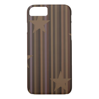 Stripes and Stars in Brown iPhone 7 Case