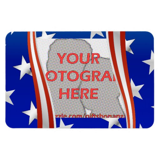 Stripes and stars photo frame template rectangular magnets