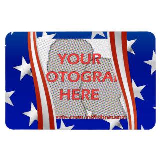 Stripes and stars photo frame template rectangular photo magnet