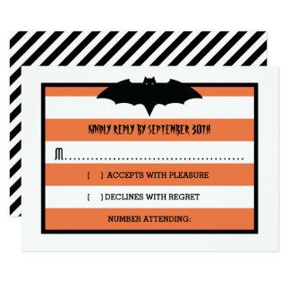 Stripes & Bat   Orange Halloween Wedding RSVP Card