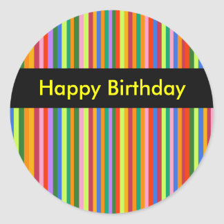 Stripes Birthday Sticker