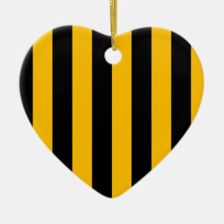 Stripes - Black and Amber Christmas Tree Ornament