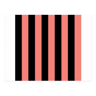 Stripes - Black and Coral Pink Postcard