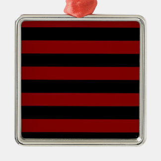 Stripes - Black and Dark Red Silver-Colored Square Decoration