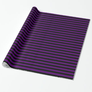 Stripes - Black and Dark Violet Wrapping Paper