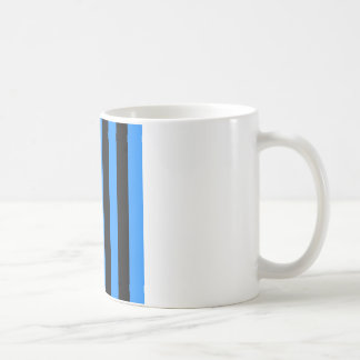 Stripes - Black and Dodger Blue Coffee Mug