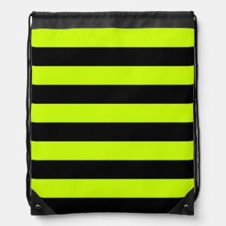 Stripes - Black and Fluorescent Yellow Cinch Bag