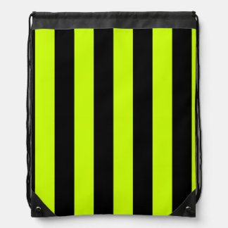 Stripes - Black and Fluorescent Yellow Drawstring Backpacks
