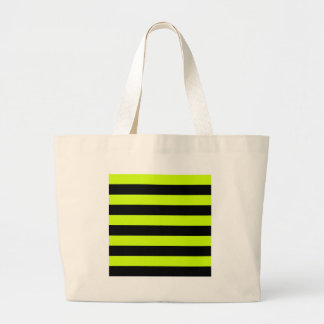 Stripes - Black and Fluorescent Yellow Tote Bags