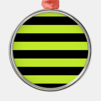 Stripes - Black and Fluorescent Yellow Christmas Ornaments