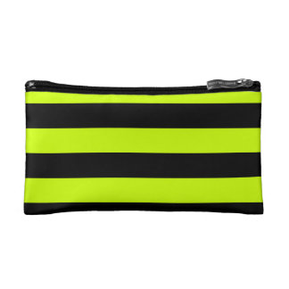 Stripes - Black and Fluorescent Yellow Makeup Bags