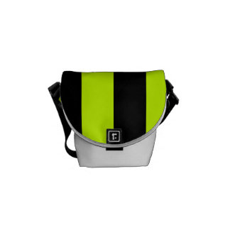 Stripes - Black and Fluorescent Yellow Messenger Bags