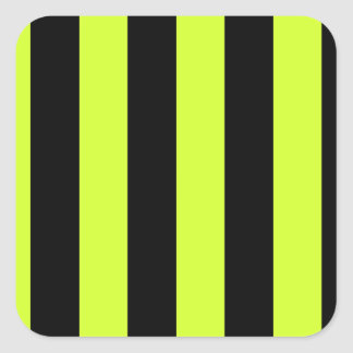 Stripes - Black and Fluorescent Yellow Square Sticker