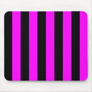 Stripes - Black and Fuchsia Mouse Pads