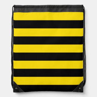 Stripes - Black and Golden Yellow Drawstring Bag