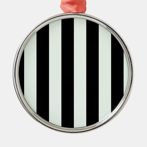 Stripes - Black and Pastel Green Christmas Ornaments