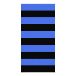 Stripes - Black and Royal Blue Personalised Photo Card