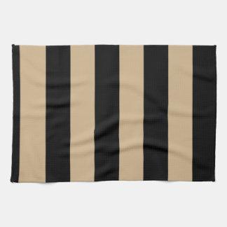 Stripes - Black and Tan Tea Towel