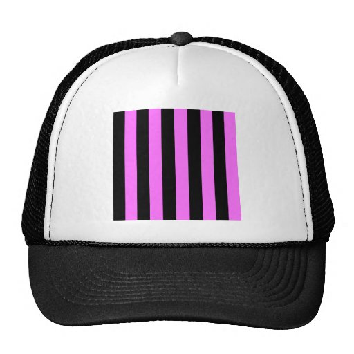 Stripes - Black and Ultra Pink Mesh Hat