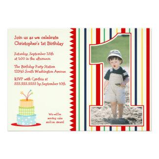 Stripes boy s photo 1st birthday party invitation