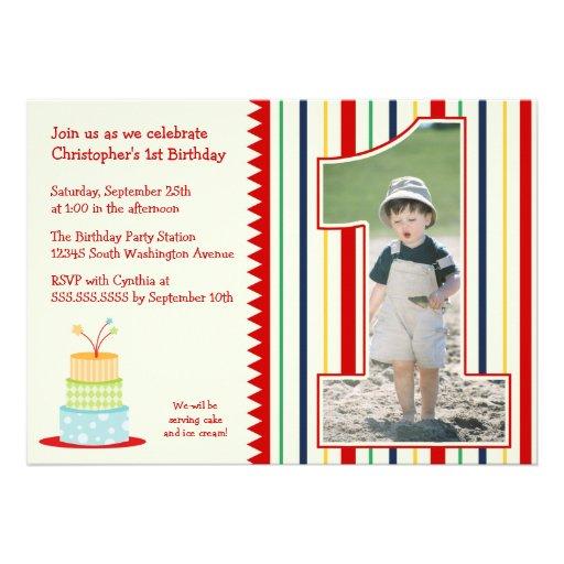 Stripes boy's photo 1st birthday party invitation