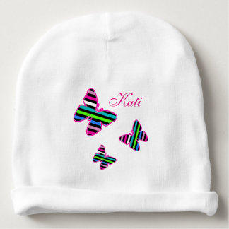 Stripes & Butterflies - Baby Knit Hat Baby Beanie