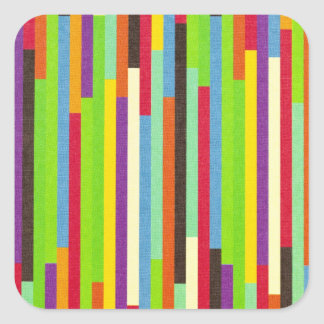Stripes colorful abstract retro pattern background square sticker